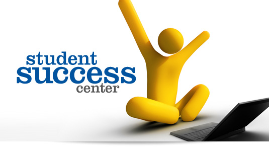 Image of a stick figure and a laptop raising his hands to express student success