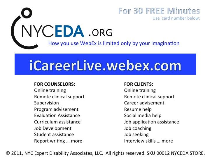 Image of a second slide depicting NYCEDA Webex iCareerLive Services