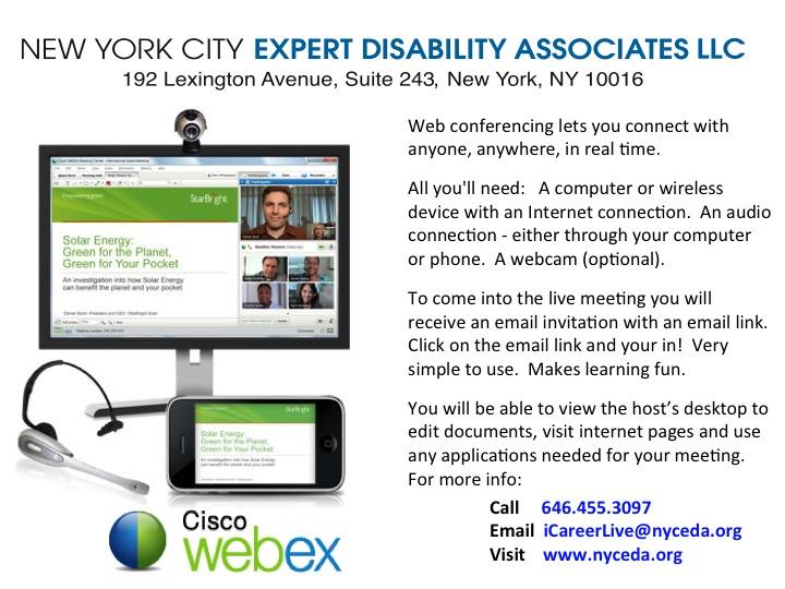 Image of a slide depicting NYCEDA Webex iCareerLive Services