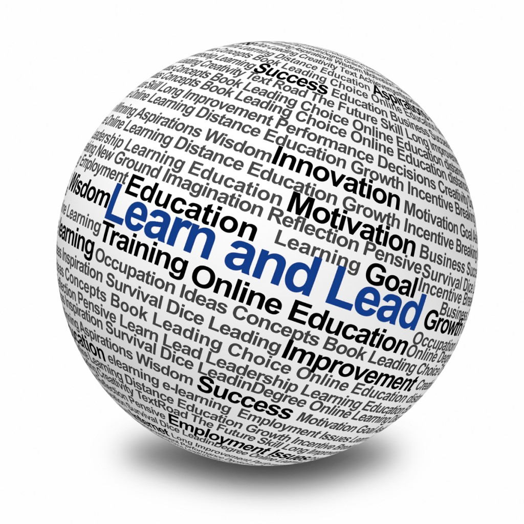 3D Image of a large ball with the words Learn and Lead written on it.