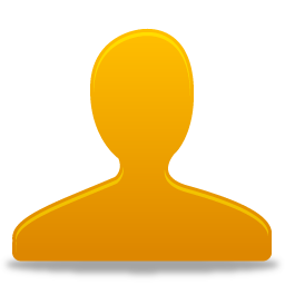 Drawn high resolution image of a headshot of a stick figure in orange website user profile icon.