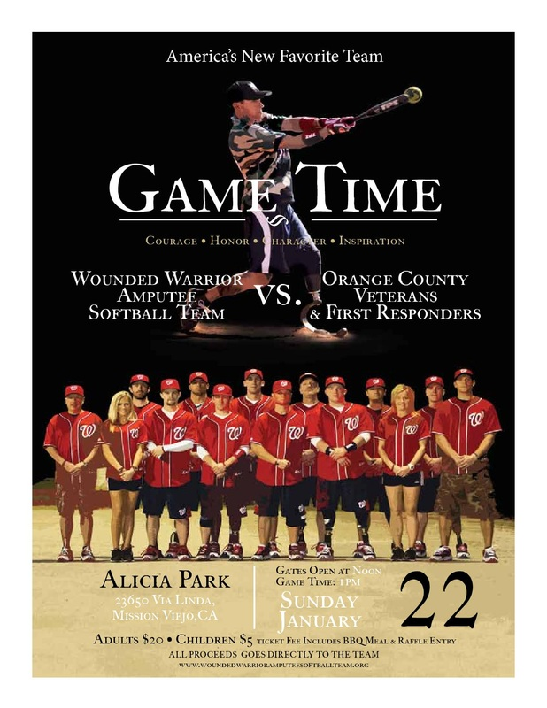 Wounded Warrior Amputee Softball Team flyer