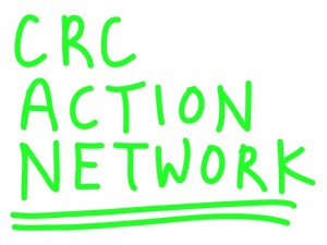 Image with the text crc action network written in bright green marker