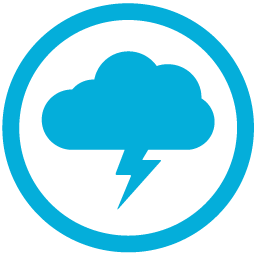 Image of a cloud with a lightening bolt shooting down below encircled blue on white