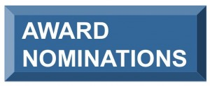 Image of a button with the text award nominations white on blue