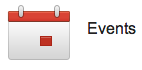 Small icon image of a calendar and the text Events red and white.