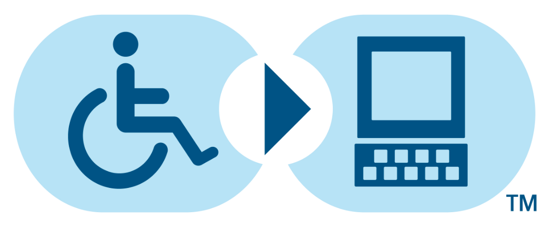 Universal symbol for individual in wheelchair seeking computer access