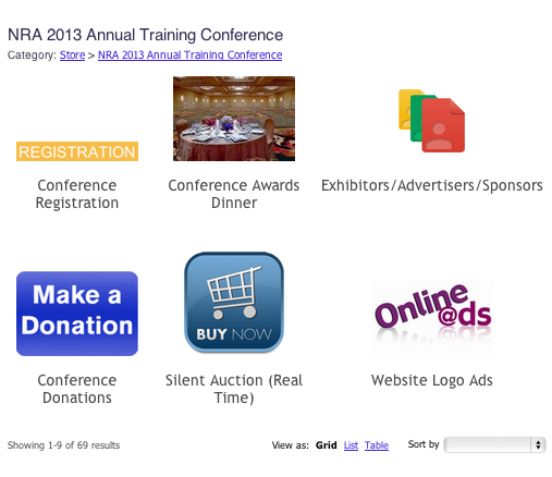 images of items for sale in the conference e-store