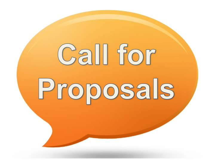 Image of an orange call out bubble with the text call for proposals