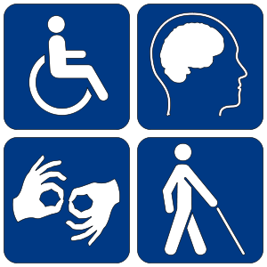 Image of four different universal accessibility icons white on blue background.