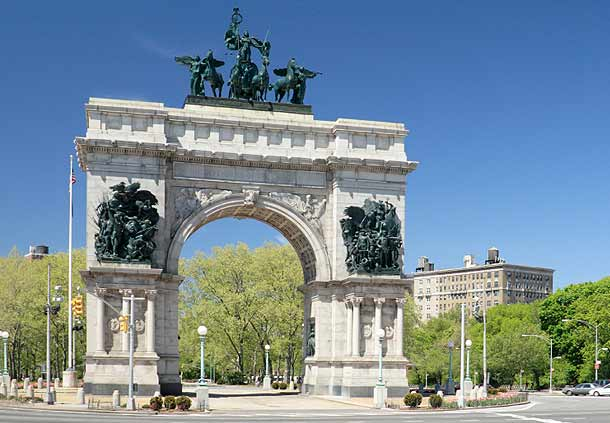 Photo of the Brooklyn Grand Army Plaza Arch next to Prospect Park summer day photo.