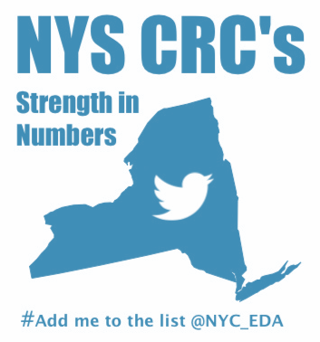 Image of new york state and the twitter bird icon in its center withe text NYC CRC's strength in numbers hashtag# add me to the list @ NYC_EDA