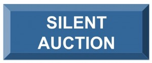 Image of a button with the text silent auction white on blue.