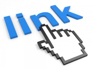 Image of a computerized hand touching the text link
