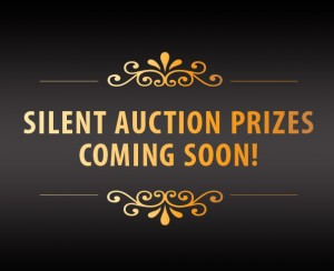 Image with the text silent auction coming soon gold on black